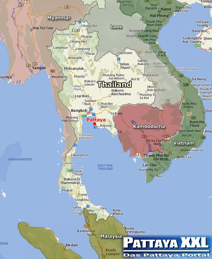 Landkarte Thailand Und Nachbarstaaten